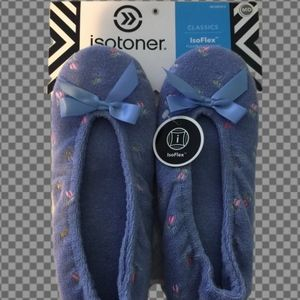 NWT Isotoner Terry cloth non skid slippers size M